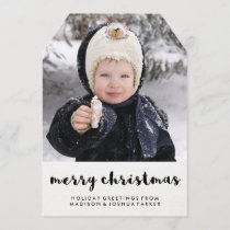 Simple Black and White Merry Christmas with Photo Holiday Card