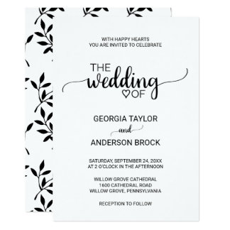 Simple Black and White Modern Calligraphy Wedding Card