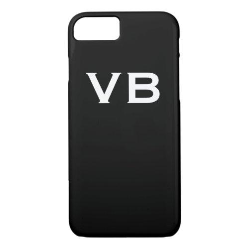 Simple Black and White Monogram Initials Phone Case