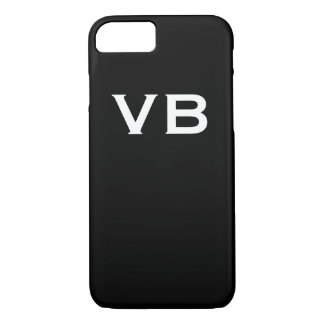 Simple Black and White Monogram Initials iPhone 7 Case