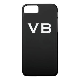 Simple Black and White Monogram Initials iPhone 8/7 Case