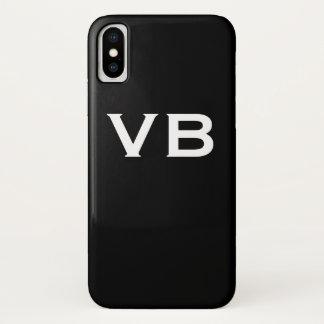 Simple Black and White Monogram Initials iPhone X Case
