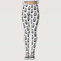 Simple Black and White Owl Pattern Leggings
