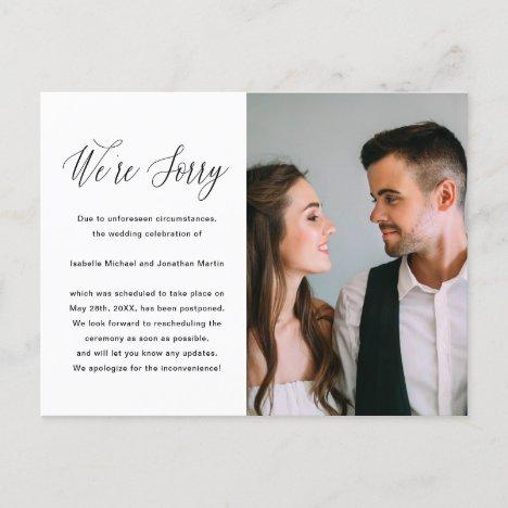 Simple Black and White Photo Wedding Postponement Announcement Postcard