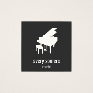 Simple Black and White Pianist Piano Square Business Card