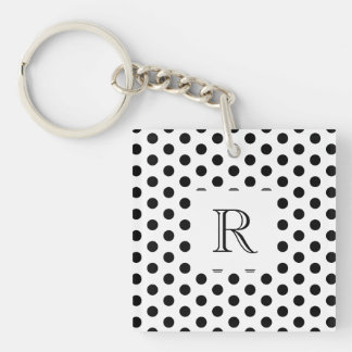 Simple Black and White Polka Dot Basic Pattern Keychain