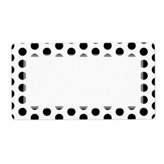 Simple Black and White Polka Dot Basic Pattern Label