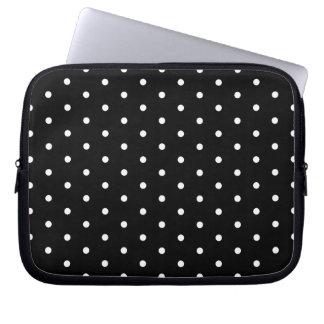 Simple Black and White Polka Dot Basic Pattern Laptop Computer Sleeves