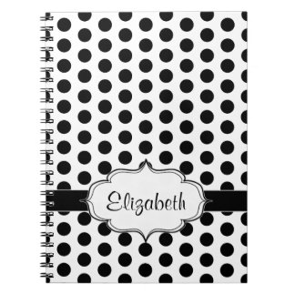 Simple Black and White Polka Dot Basic Pattern Spiral Notebooks