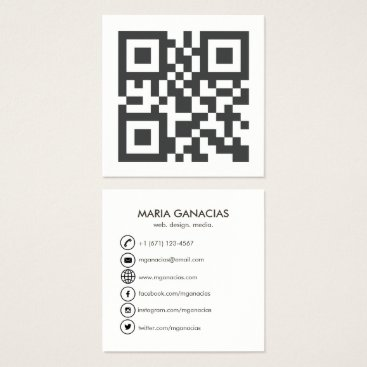 Professional Business Simple Black and White QR Code Business Card