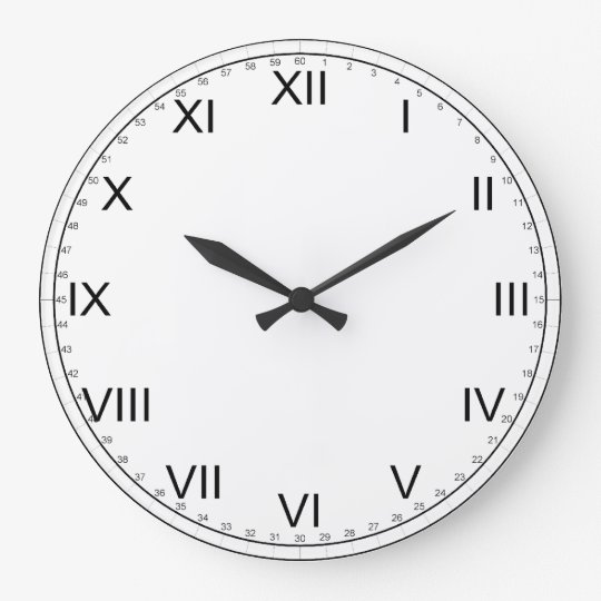 Simple Black And White Roman Numerals Large Clock Zazzle Com
