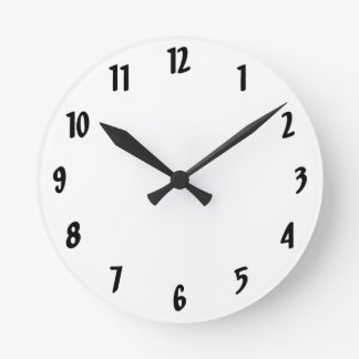 Simple Black and White Round Clock