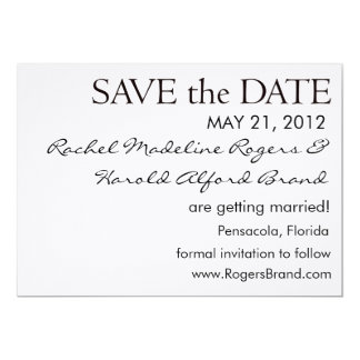 Simple Black and White Save the Date Card