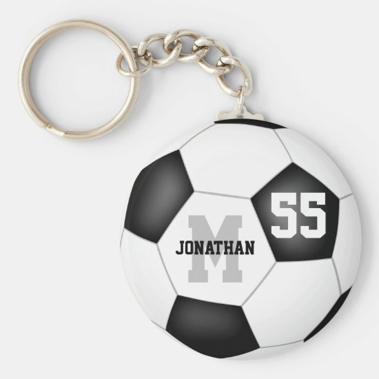 simple black and white soccer ball personalized keychain