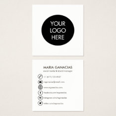 Simple Black And White Social Media Business Card at Zazzle