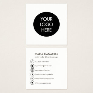 Social media business cards templates zazzle simple black and white social media business card flashek Image collections