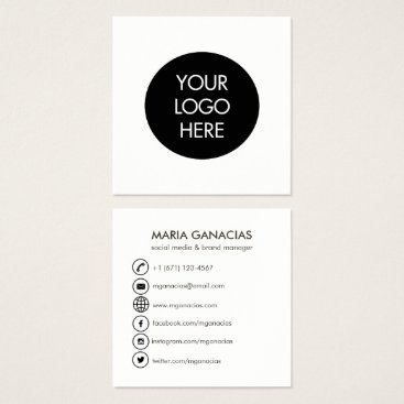 Professional Business Simple Black and White Social Media Business Card