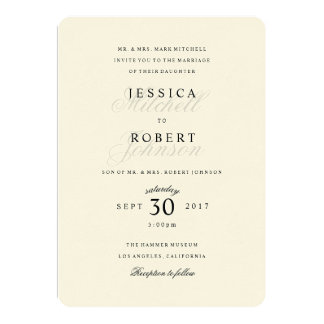 Simple Black and White Traditional Type Wedding Invitation