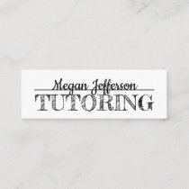 Simple Black And White Tutoring Minimalist Tutor Mini Business Card