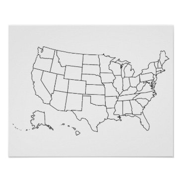 USA Themed Simple Black and White US Map Outline Poster