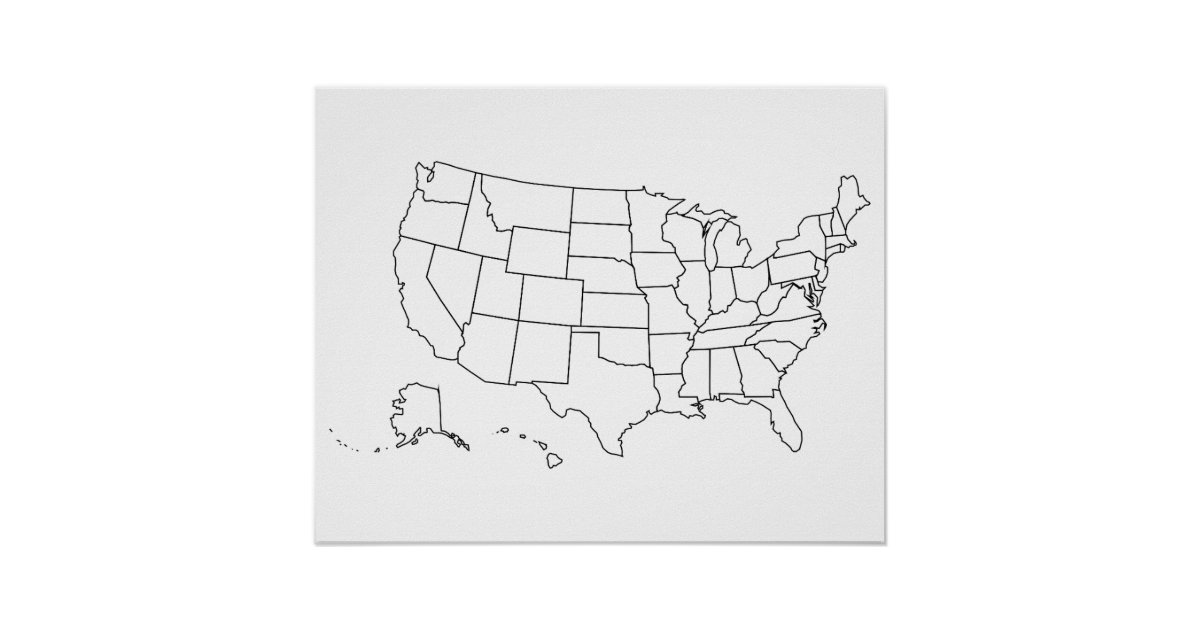 Simple Black and White US Map Outline Poster   Zazzle.com
