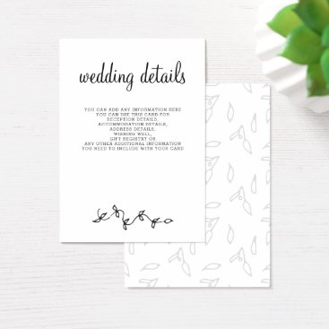 Simple Black and White Wedding Business Card