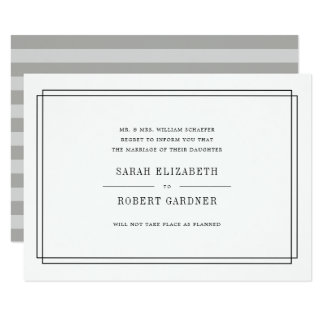 Simple Black and White Wedding Cancellation Card