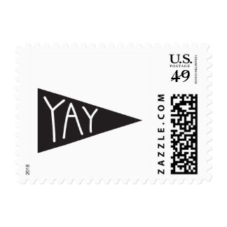 simple, black and white, yay pennant flag stamp