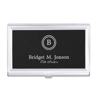 Simple Black Background And Black And White Circle Case For Business Cards