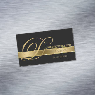 Simple Black Background With Gold Stripe Business Card Magnet
