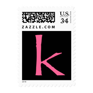 Simple black background with hot pink postage
