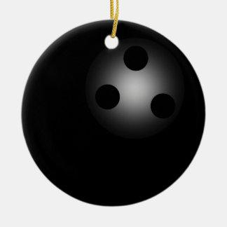 Simple Black Bowling Ball Bowler's Ceramic Ornament