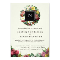 Simple Black Box | Vintage Flower Wedding Invite