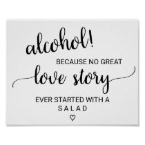 Simple Black Calligraphy Alcohol Love Story Sign