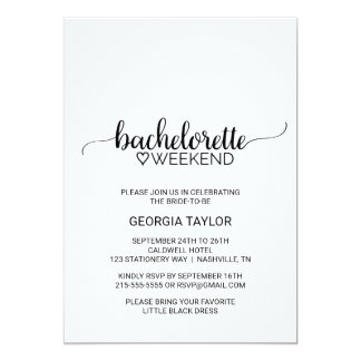 Simple Black Calligraphy Bachelorette Weekend Card