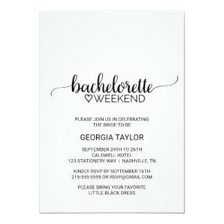 Simple Black Calligraphy Bachelorette Weekend Invitation