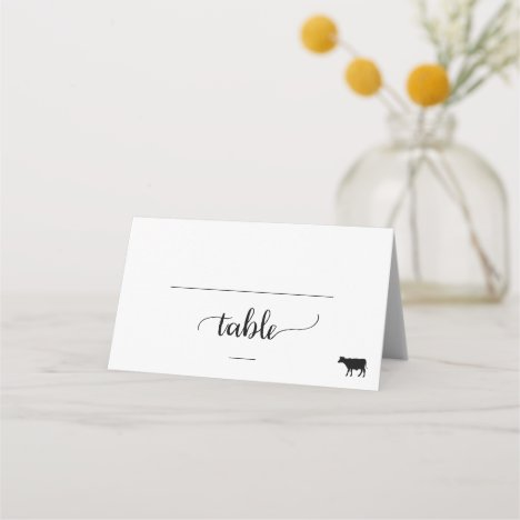 Simple Black Calligraphy Beef Meal Option Wedding Place Card