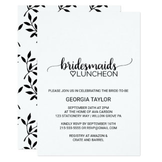 Simple Black Calligraphy Bridesmaids Luncheon Card