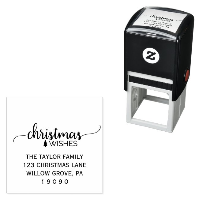 Simple Black Calligraphy Christmas Return Address Self-inking Stamp