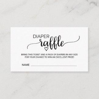 Simple Black Calligraphy Diaper Raffle Insert