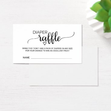 Toddler & Baby themed Simple Black Calligraphy Diaper Raffle Insert