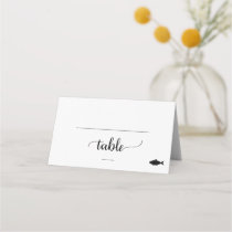 Simple Black Calligraphy Fish Meal Option Wedding Place Card