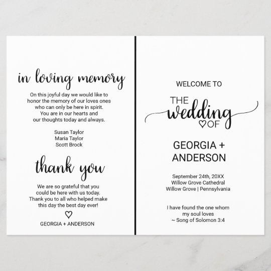 simple black calligraphy folded wedding program zazzle com