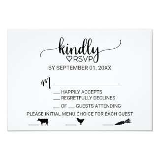 Simple Black Calligraphy Meal Choice Icon RSVP Card