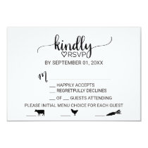 Simple Black Calligraphy Meal Choice RSVP Card