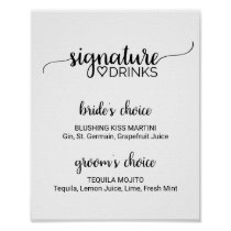Simple Black Calligraphy Signature Drinks Sign