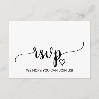 Simple Black Calligraphy Song Request RSVP Card