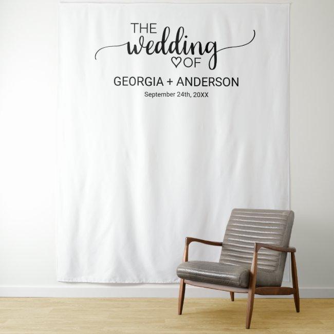 Simple Black Calligraphy Wedding Photo Backdrop