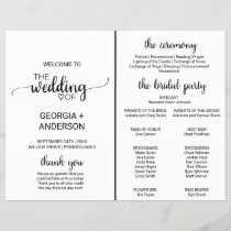 Simple Black Calligraphy Wedding Program Fan