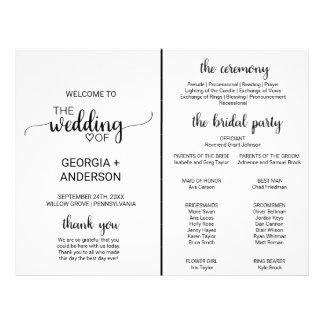 Simple Black Calligraphy Wedding Program Fan